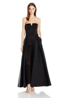 HALSTON HERITAGE Women's Strapless Jumpsuit with Structured Skirt Overlay