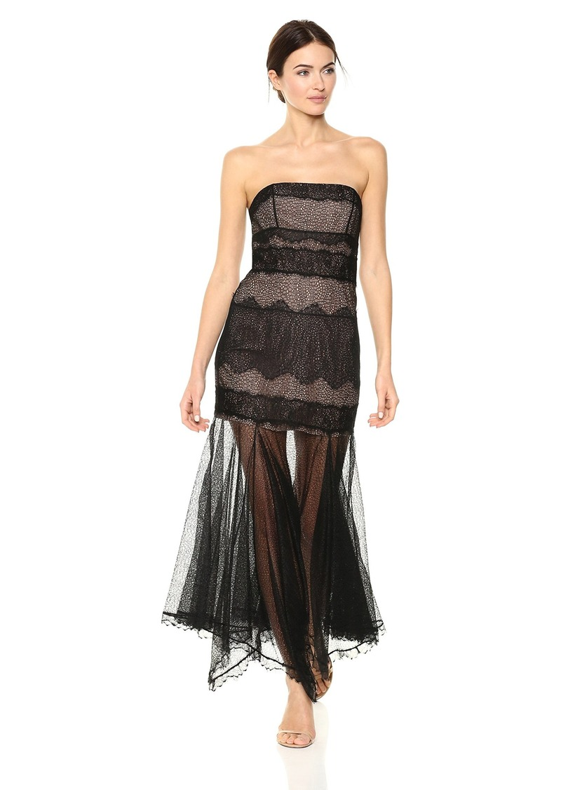 Halston Heritage Women's Strapless Lace Gown with Handkerchief Skirt