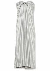 Halston Heritage Women's Strapless Metallic Jersey Gown with Front Twist