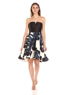 Halston Heritage Women's Strapless Notch Neck Printed Dress Ink Crocus