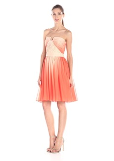 HALSTON HERITAGE Women's Strapless Ombre Printed Chiffon Cocktail Dress