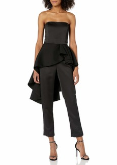 Halston Heritage Women's Strapless Satin Jumpsuit with Flounce Skirt
