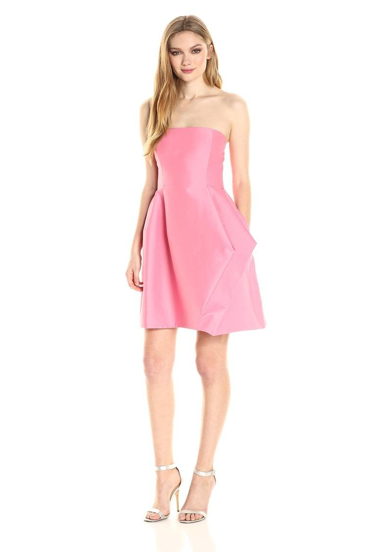 Halston Heritage Women's Strapless Silk Faille Dress with Folded Drape Skirt