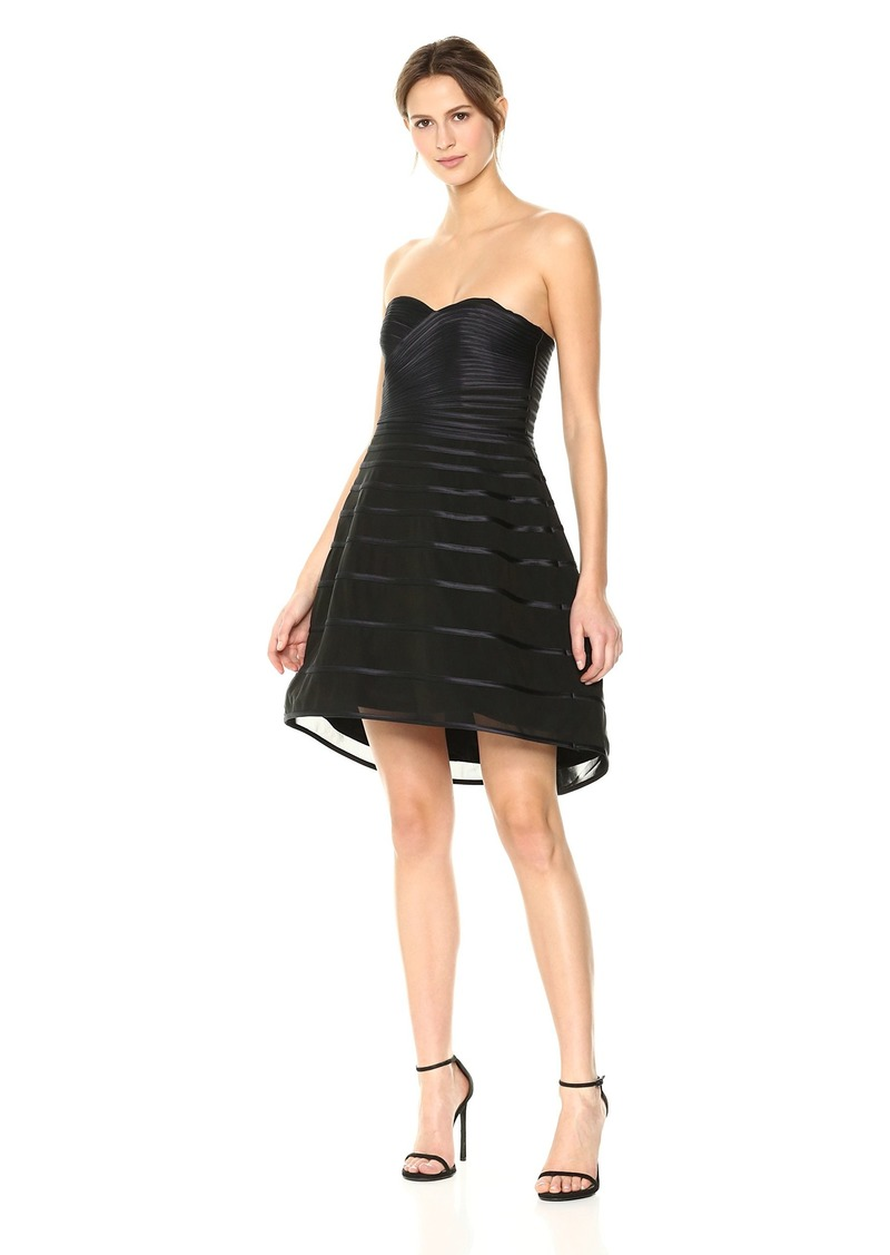Halston Heritage Women's Strapless Striped Dress with Hi Low Dramatic Skirt