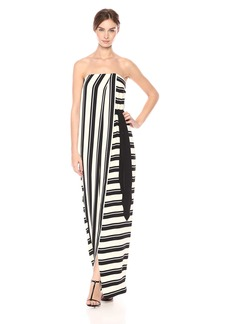 Halston Heritage Women's Strapless Striped Tie Waist Detail Gown Black/Cream Nouveau