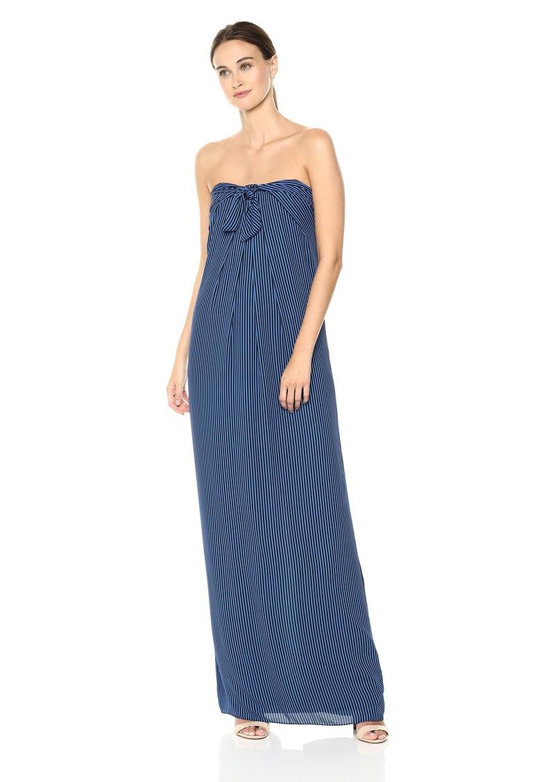 Halston Heritage Women's Strapless Tie Front Striped Gown Black/Cobalt Petite