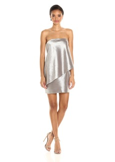 Halston Heritage Women's Strapless Tiered Drape Jaquard Dress