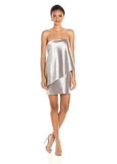 Halston Heritage Women's Strapless Tiered Drape Jaquard Dress