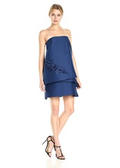 Halston Heritage Women's Strapless Tiered Embroidery Detail Dress