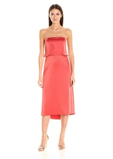Halston Heritage Women's Strapless Tiered Satin Dress