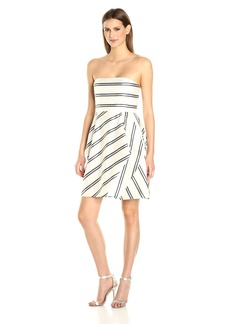 Halston Heritage Women's Strapless Variegated Stripe Dress Chalk/Black/Fog