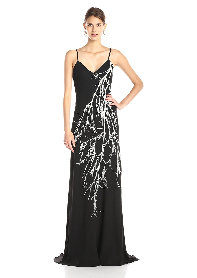 HALSTON HERITAGE Women's Strappy Evening Dress with Feather Detail