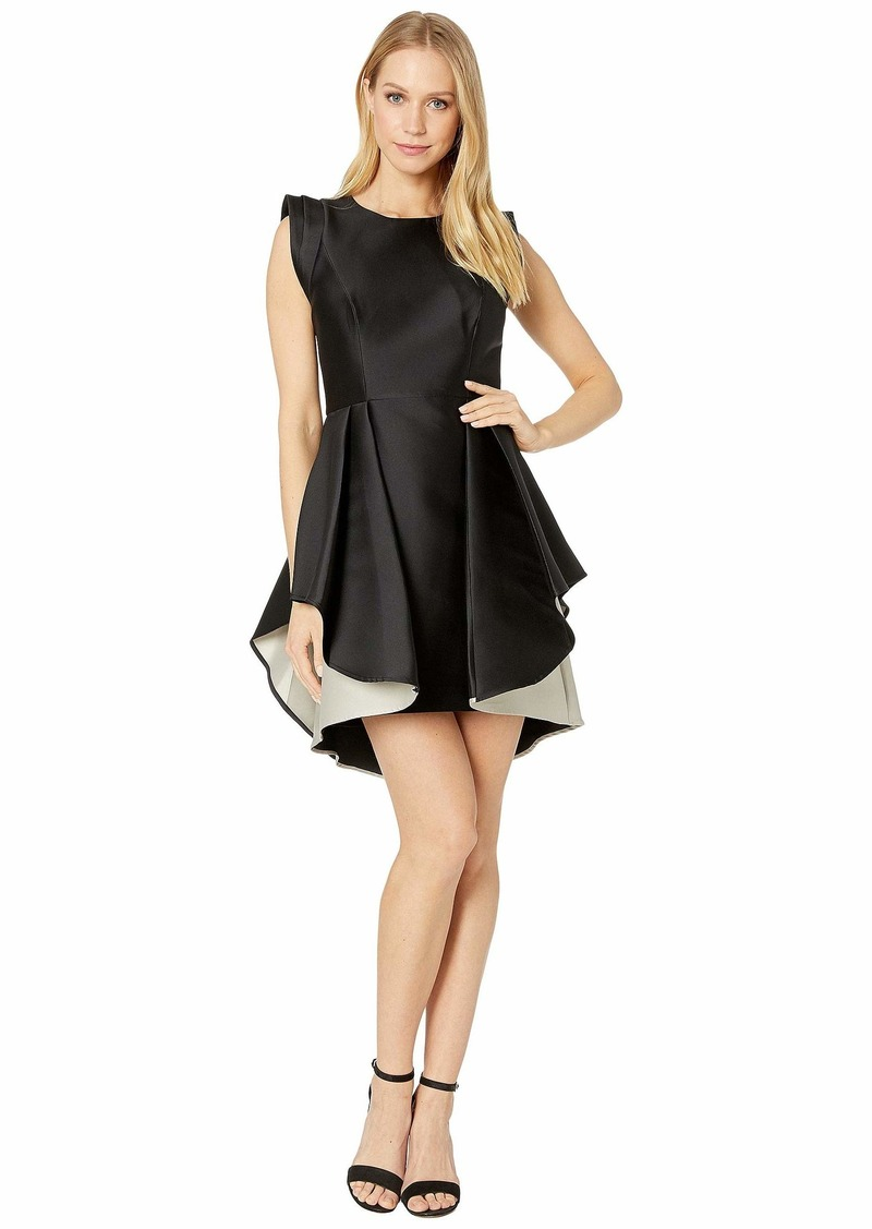 Halston Heritage Women's Structured Cap Sleeve Fit & Flare Dress