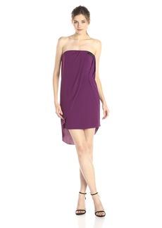 HALSTON HERITAGE Women's Triacetate Crepe Strapless Cocktail Dress with Drape