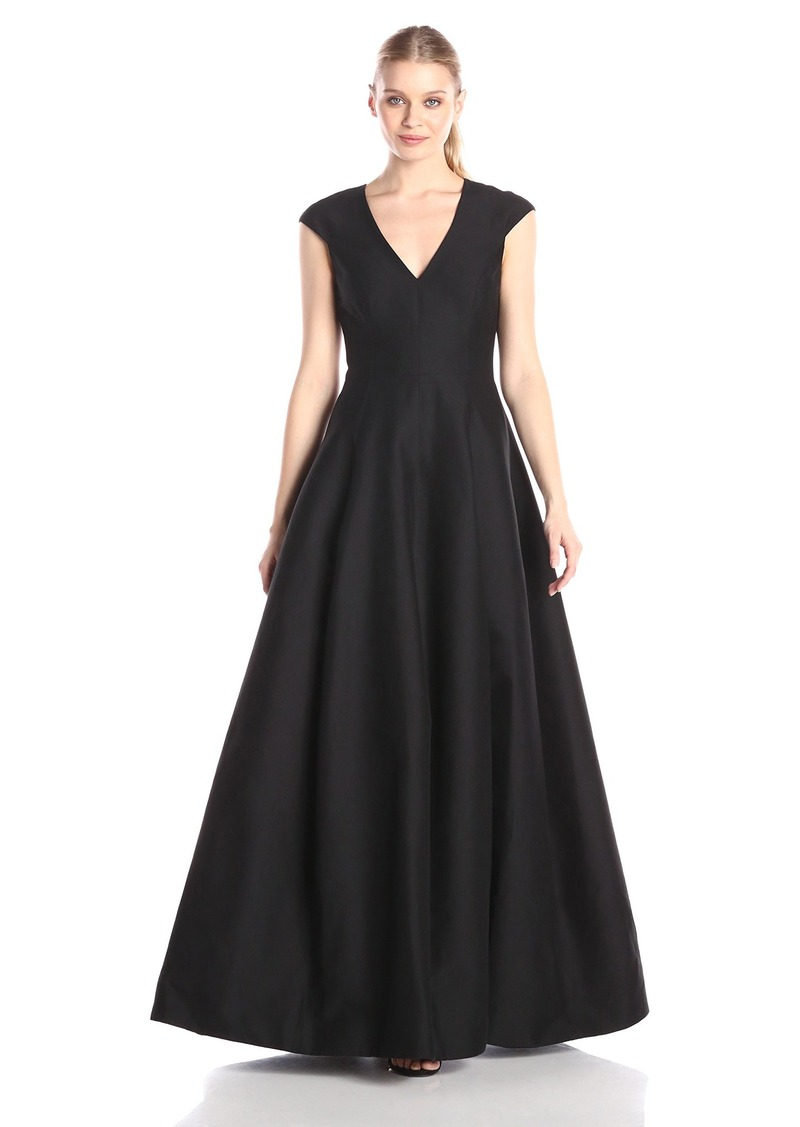 Halston Heritage Women's V-neck Gown With Cap Sleeve BLACK