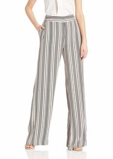 Halston Heritage Women's Wide Leg Pant Buff/Black Variegated Stripe Print