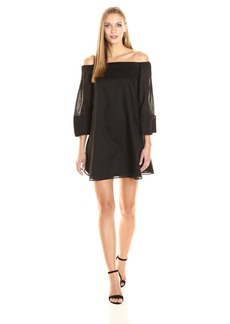 HALSTON HERITAGE Women's Wide Long Sleeve Dress with Cold Shoulder Detail