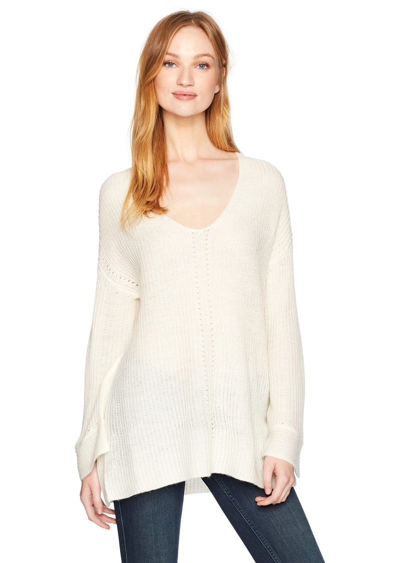 Halston Heritage Women's Wide Sleeve Deep V Stitch Detail Sweater  L
