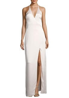 Halston Heritage Wrap-Style Halter Column Gown