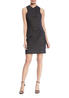 Halston Heritage Wrapped Fitted-Draped Sleeveless Mini Dress