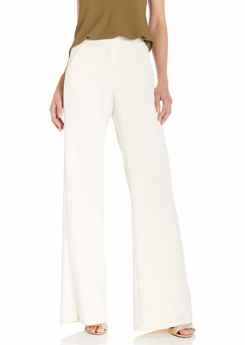 Halston Heritage Halston Women's Straight Fit Pleat Detail Crepe Suiting Pant