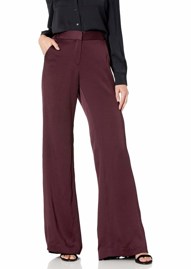 Halston Heritage Halston Women's Straight Fit Pleat Detail Satin Pant