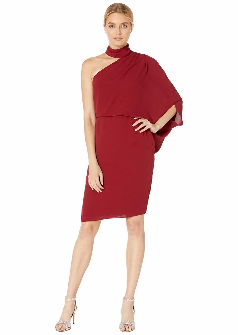 Halston Heritage Halston Women's Wrap Neck Asymmetric Draped Dress