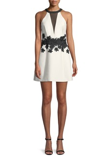 Halston Heritage Halter Mini Dress w/ Floral Embroidery