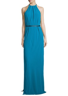 Halston Heritage Halter-Neck Belted Evening Gown