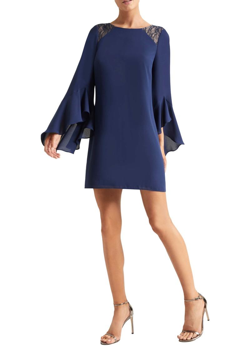 Halston Heritage Haltson Heritage Lace Shoulder Long Sleeve Cocktail Dress