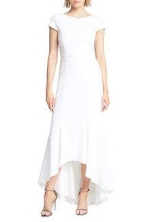 Halston Heritage Haltson Heritage Side Ruched High/Low Trumpet Gown