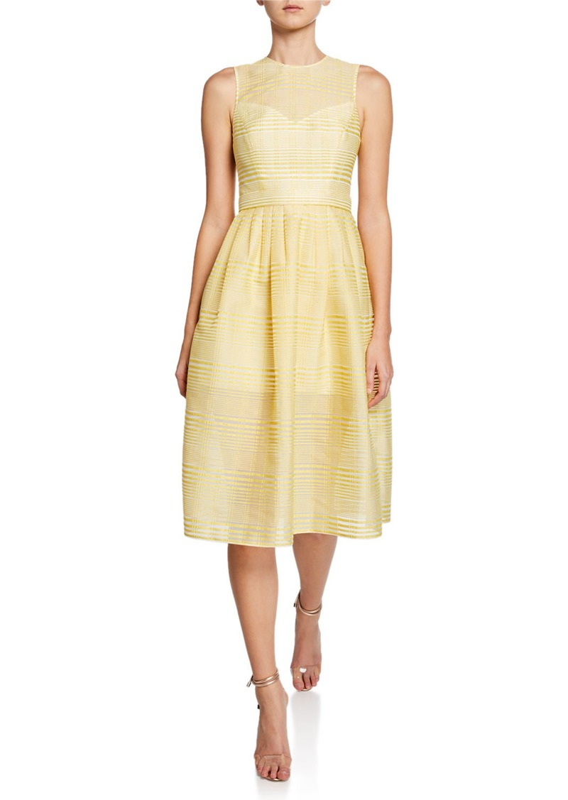 Halston Sleeveless High-Neck Striped Organza Fit-and-Flare Dress