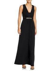 Halston Heritage Jewel Waist Crepe Gown