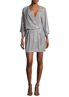 Halston Heritage Kimono-Sleeve Faux-Wrap Printed Dress