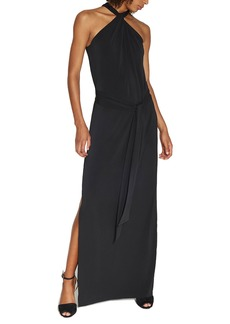 Halston Heritage Knotted Halter-Neck Jersey Gown