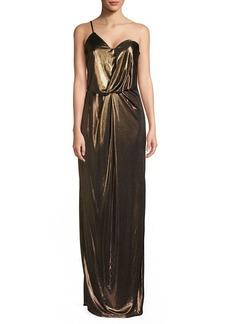 Halston Heritage Lame Asymmetrical One-Shoulder Column Gown