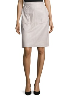 Halston Heritage Leather Straight Skirt