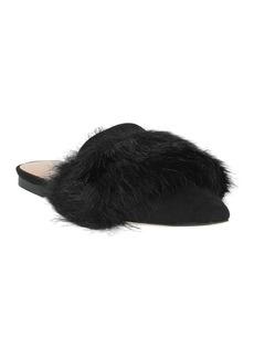 Halston Heritage Lisa Black Faux Fur Flat