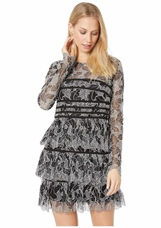 Halston Heritage Long Sleeve Lace Dress with Strapping Detail