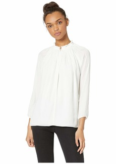 Halston Heritage Long Sleeve Top with Pleated Collar