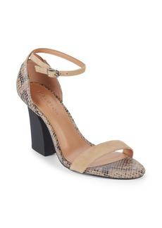 Halston Heritage Mandi Embossed Leather Ankle Strap Sandals
