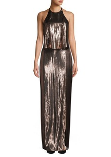 Halston Heritage Metallic Backless Halter Gown
