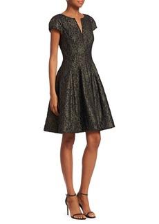 Halston Heritage Metallic Fit & Flare Dress