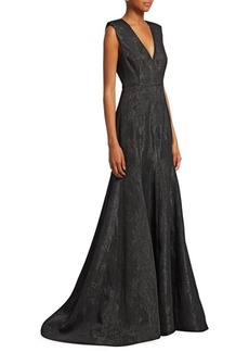 Halston Heritage Metallic Jacquard Evening Gown