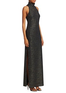 Halston Heritage Metallic Knit Evening Gown