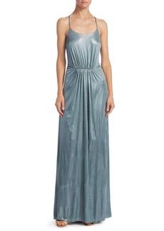Halston Heritage Metallic T-Back Dress
