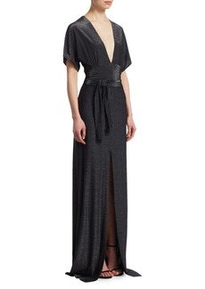 Halston Heritage Metallic V-Neck Gown