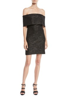 Halston Heritage Off-the-Shoulder Fitted Metallic Knit Dress