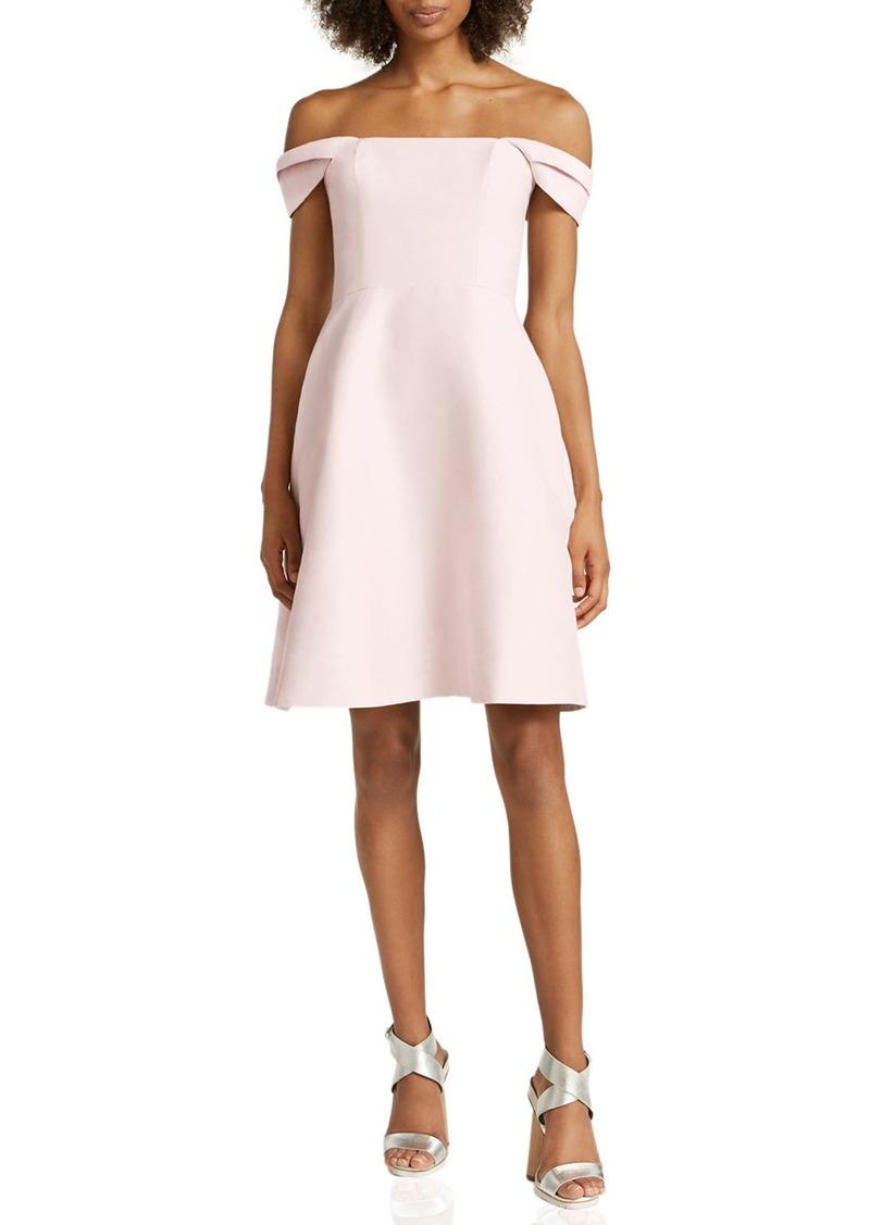 Halston Heritage Off-The-Shoulder Silk Faille Cocktail Dress
