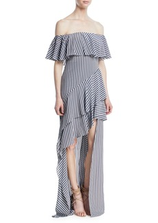 Halston Heritage Off-the-Shoulder Striped Flounce Gown